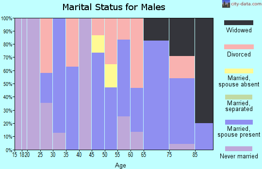 Zip code 58721 marital status for males