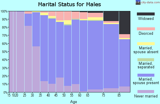 Zip code 60025 marital status for males