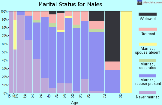 Zip code 60042 marital status for males