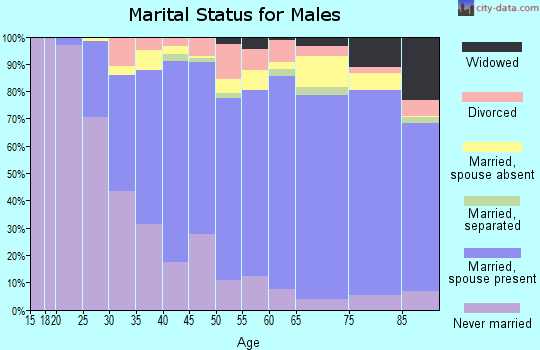 Zip code 60076 marital status for males