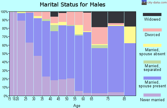 Zip code 60087 marital status for males