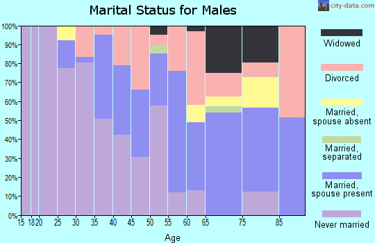 Zip code 60155 marital status for males