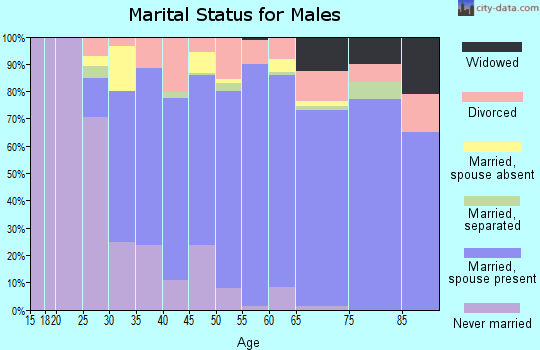 Zip code 60417 marital status for males