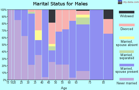 Zip code 60425 marital status for males