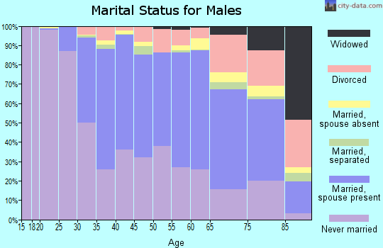 Zip code 60614 marital status for males