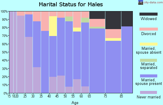 Zip code 60970 marital status for males