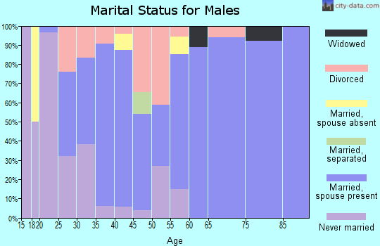 Zip code 61012 marital status for males