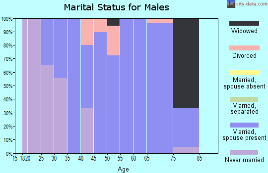 Zip code 61830 marital status for males