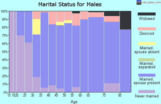Zip code 61853 marital status for males