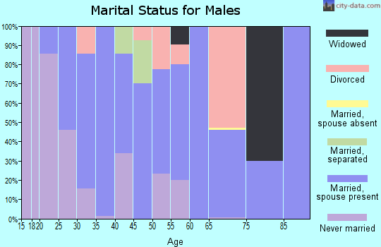Zip code 61880 marital status for males