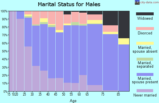 Zip code 63031 marital status for males