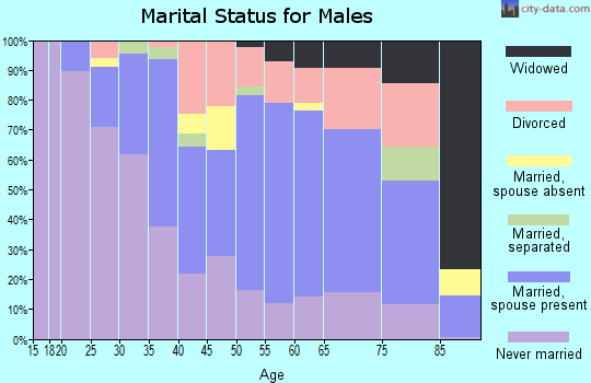Zip code 63074 marital status for males