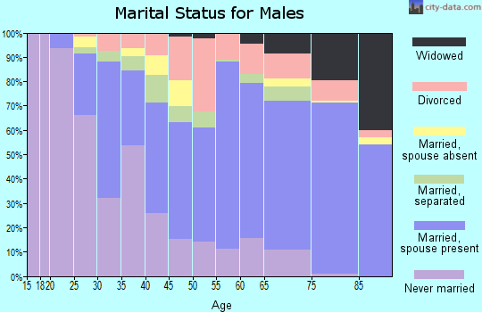 Zip code 63135 marital status for males