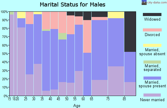 Zip code 63877 marital status for males