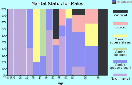Zip code 63882 marital status for males