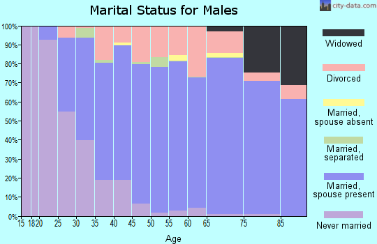 Zip code 64151 marital status for males