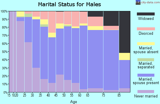 Zip code 65109 marital status for males