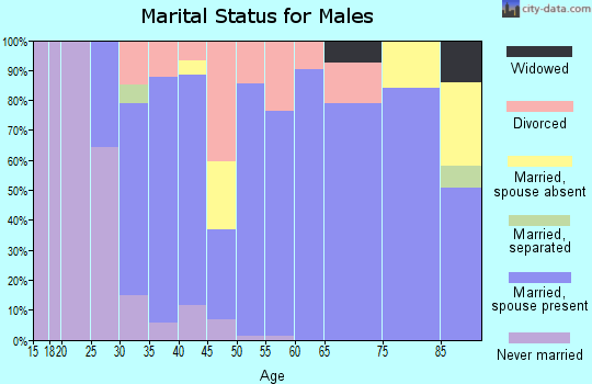 Zip code 66025 marital status for males