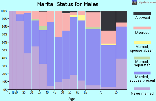 Zip code 66701 marital status for males