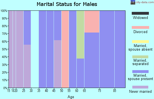 Zip code 67105 marital status for males