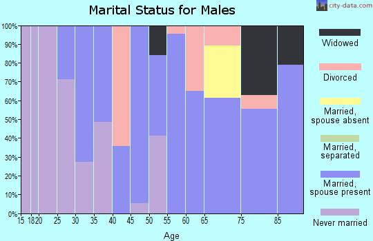 Zip code 70079 marital status for males