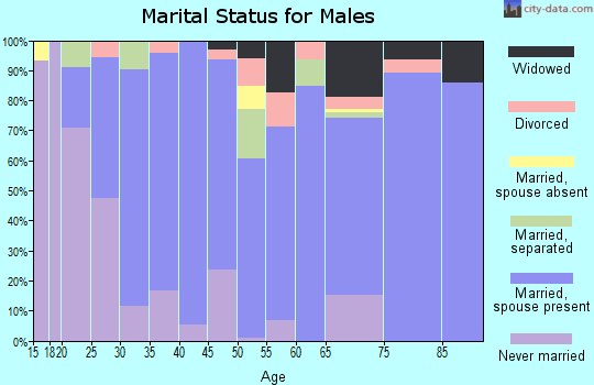 Zip code 70345 marital status for males