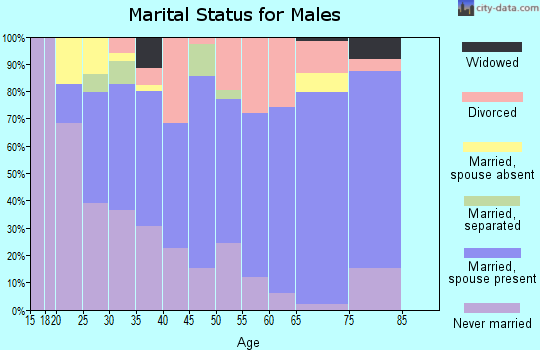 Zip code 70529 marital status for males