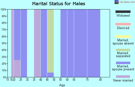 Zip code 70662 marital status for males