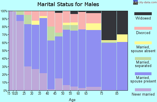 Zip code 70663 marital status for males