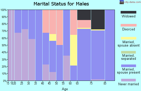 Zip code 70819 marital status for males