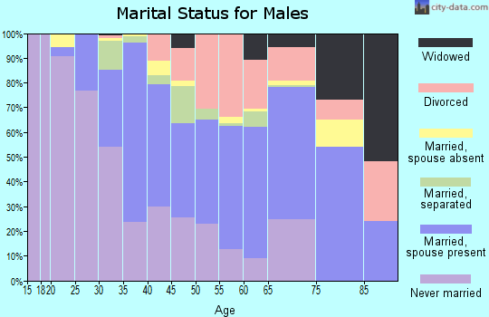 Zip code 71052 marital status for males