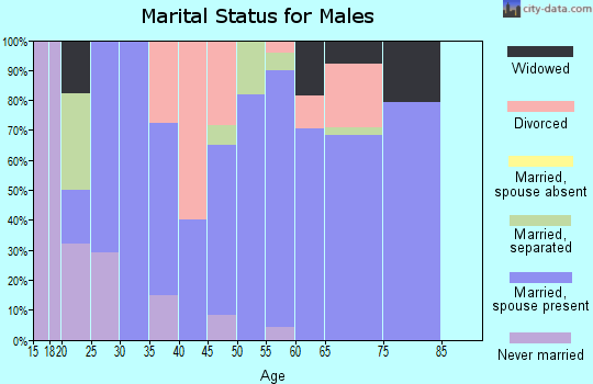 Zip code 72029 marital status for males