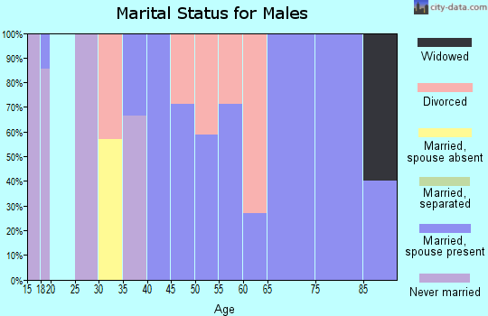 Zip code 73058 marital status for males