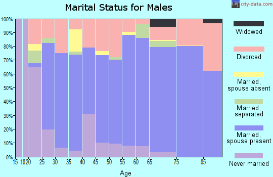 Zip code 73068 marital status for males