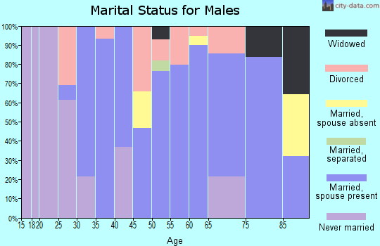 Zip code 73858 marital status for males