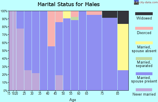Zip code 73949 marital status for males
