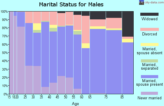 Zip code 74344 marital status for males