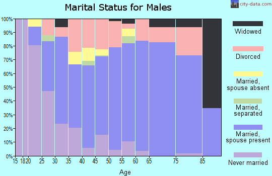 Zip code 74346 marital status for males