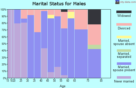 Zip code 74364 marital status for males