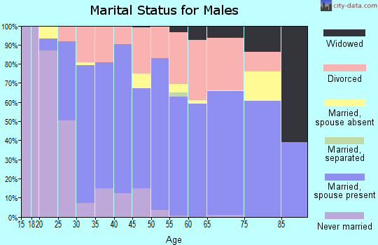 Zip code 74434 marital status for males