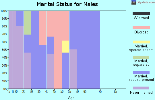 Zip code 74468 marital status for males