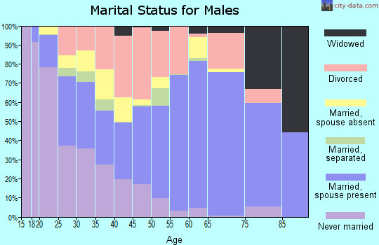 Zip code 74525 marital status for males