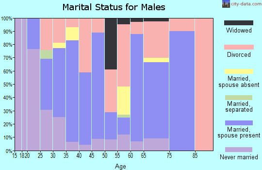 Zip code 74730 marital status for males