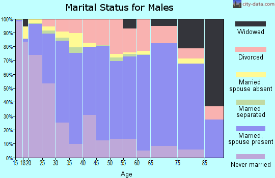 Zip code 74801 marital status for males