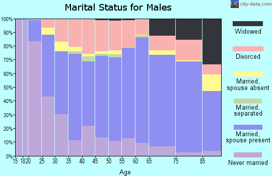 Zip code 74820 marital status for males