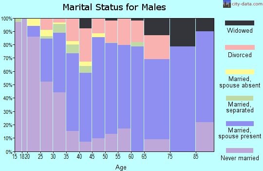 Zip code 74834 marital status for males