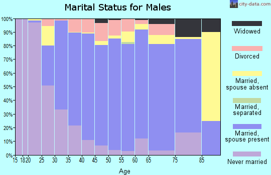 Zip code 75088 marital status for males