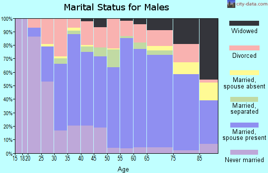 Zip code 75090 marital status for males