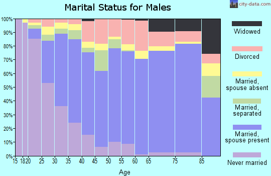 Zip code 75150 marital status for males