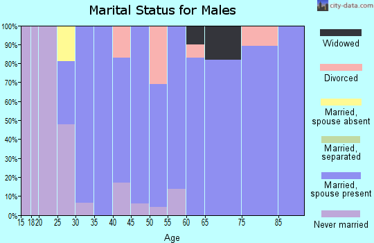 Zip code 75182 marital status for males